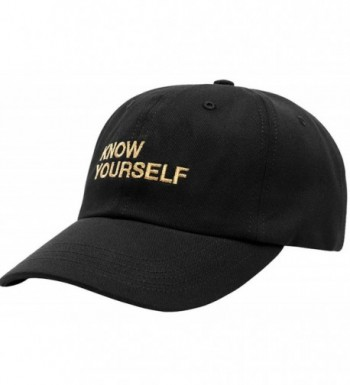 FGSS Mens Know Yourself Embroidery Adjustable Strapback Dad Hat Baseball Cap - Black - CN12MZB75SH