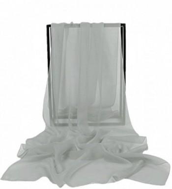VaniaDress Women Chiffon Long Shawls Bridal Wrap Evening Dress Scarves V002PJ - Silver - CX12MZDU4ZX