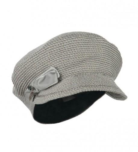Women's Paper Braid Newsboy Hat with Velvet Bow Trim - Taupe - CE11JL18OYF