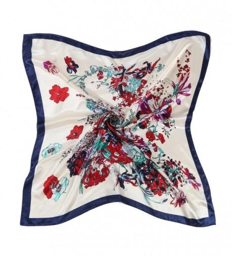 Oksale Women Floral Printed Square Scarf Kerchief Scarve Head Wrap Shawl - Blue - CW12O7EGJGS