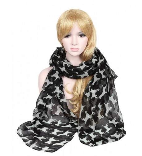Calonice Scarf with cartoon white puppy patterns celebrity shawl 36800 - Black - C01205ITMHF