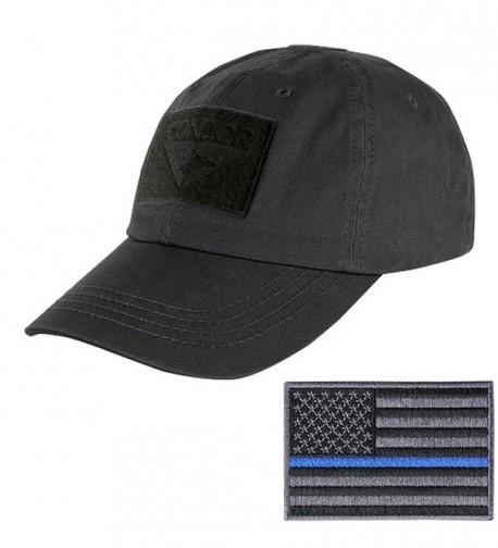 Condor Tactical Cap with Thin Blue Line Morale Patch Bundle - Black - C812MZHPRPB