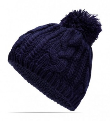 Nine City Unisex Knitted Beanie With Pom and Fleece Lining Skull Cap (Navy) - CL12N4ZLQZQ