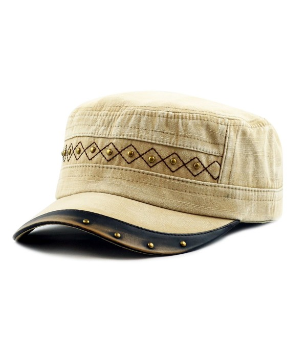 THE HAT DEPOT Light Weight Cotton Leather Accent Beaded Washed Cap Hat - Khaki - C7125IZGXKT