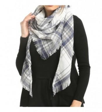 Blanket Scarf Poncho Plaid Women - Unisex Kimono Fashion Scarves - Gray - CA1882QT5G7