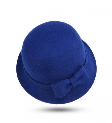JOOWEN Women's 100% Wool Felt Round Top Cloche Hat Fedoras Trilby with Bow Band - Royal Blue - CH12NU43EP1