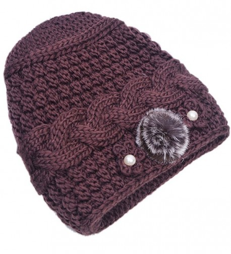 THENICE Women's Mother elderly Winter Skull Cap Fur Flowers velvet Knit Hat - Brown - C612N69RIV2