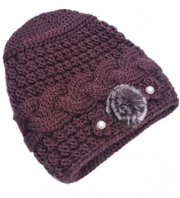 THENICE Women's Mother elderly Winter Skull Cap Fur Flowers velvet Knit Hat - Brown - C612N69RIV2
