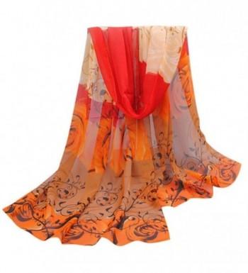 Emubody Women Beautiful Rose Pattern Chiffon Shawl Wraps Scarf Scarves - Orange - C312MYDTPK6