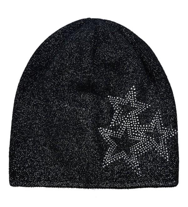 SOMALER Beanie Hats For Women Winter Knit Beanie Hat Silver Sparkles Fall Wool Hat - Black - C2186HIIQEK