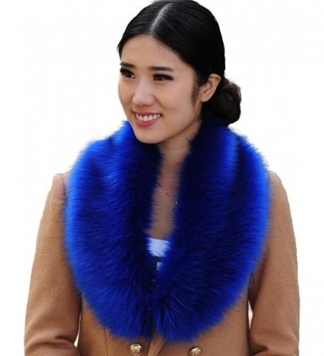 i-KindPec Women's Faux Fur Collar Wrap Scarf Big Neck warmer - Blue - CZ126L2O107