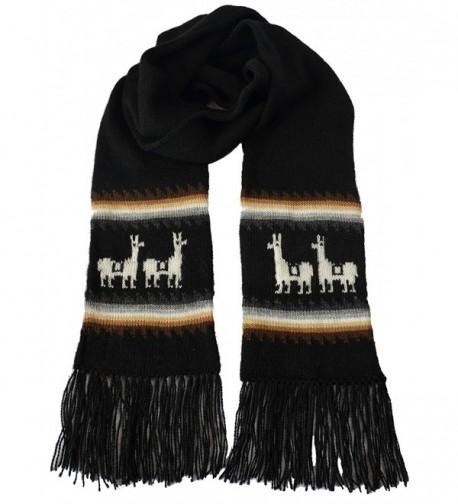 Gamboa Black Llamitas Men Women Unisex Alpaca Scarf - Black - CT125UTTP8P