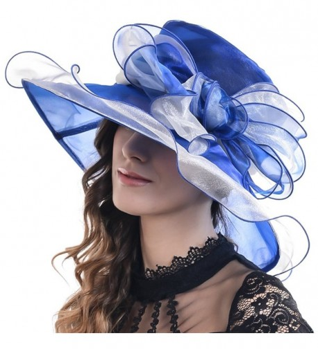 FORBUSITE Mary Derby Kentucky Wide Brim Party Hat with Large Bow S039 - Royalblue - CK12E1D5NKP