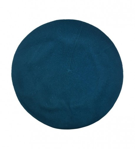 Beret For Women 100% Cotton Solid - Medium/Large - Turquoise - CD17XWOZKRX