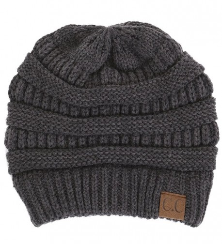 Funky Junque CC Solid Ribbed Beanie - Soft Stretch Cable Knit - Warm Skull Cap - Charcoal - C5126VPQYAN