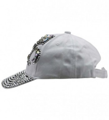 White Baseball Cap Rhinestone Fleur in Women's Baseball Caps