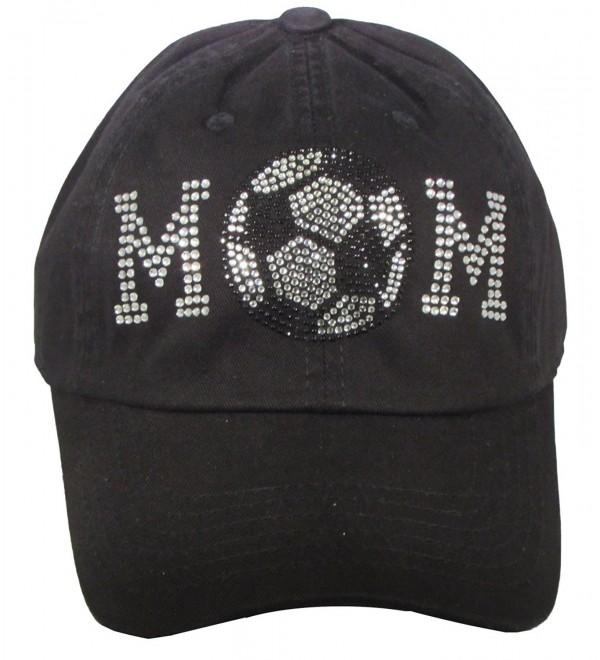 Bling Rhinestone Baseball Mom Black Cadet Cap Hat Sports Military - Soccer Mom - CR184D9G8IG