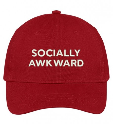 Trendy Apparel Shop Socially Awkward Embroidered Brushed Cotton Adjustable Cap Dad Hat - Red - CL12MX3G5FP