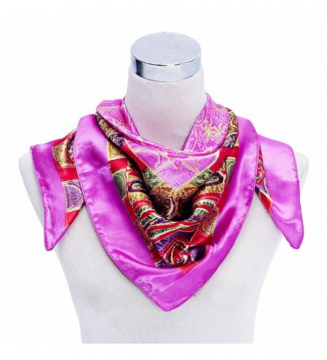 "Premium Silky Rayon Paisley 35""*35"" Square Neck Scarf for Women Clothing Decor - Pink - CC120TUMSU7"