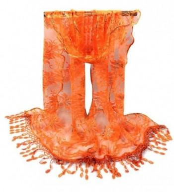 Scarves-Saingace(TM) Women Long Wrap Scarf Tassel Shawl Flower Lace Scarves - Orange - C112MZSKQ7F