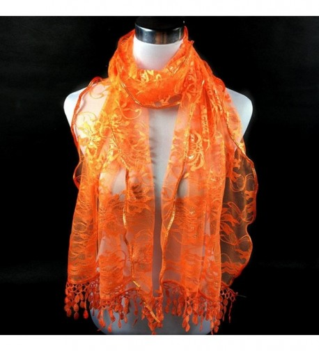 Scarves Saingace Tassel Flower Orange in Fashion Scarves