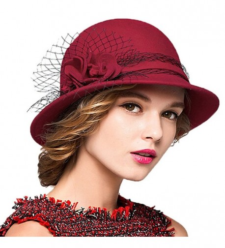 Maitose Women's Wool Felt Bowler Hat - Red - CE128NIZ2CD