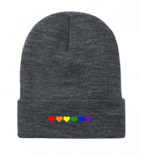 "Gay Pride ""Rainbow Hearts"" Embroidered Fold Over Beanie - Dark Gray - CA187420TEX"