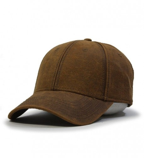Heavy Washed Wax Coated Adjustable Low Profile Baseball Cap - Caramel Brown - C212H7O5233