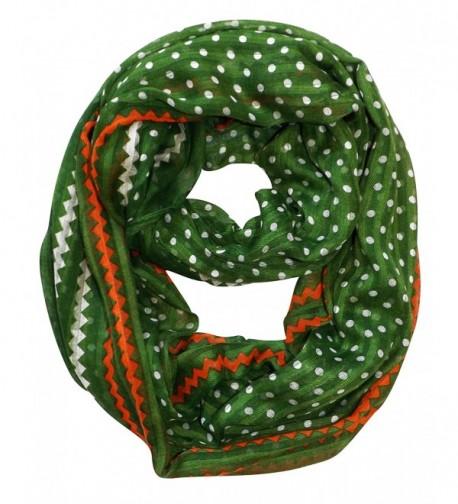 Peach Couture Chic Polka Dot And Chevron Sheer Infinity Loop Scarf - Green - CI11UQATOHF