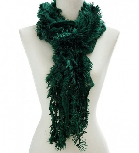 Ruffled Faux Fur Trimmed Scarf - Green - CB11Q41VG9Z