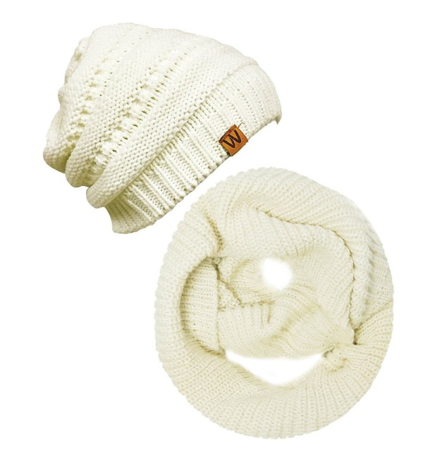 Wrapables Winter Warm Knitted Infinity Scarf and Beanie Hat Set - Cream - CF12OCWV0IC
