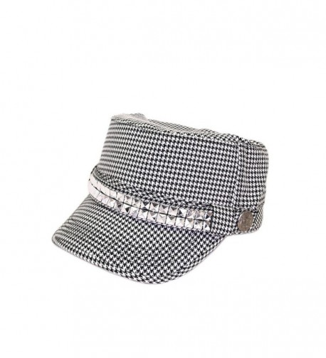 Adjustable Cotton Military Style Studded Bling Army Cap Cadet Hat - Diff Colors Avail - Black/White Houndstooth - CK11KUTXPOB