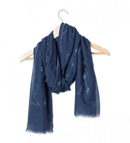 "Tickled Pink Long Lightweight All Season Floral Sheer Scarf- 30 x 70"" - Navy - CV184WEA83Y"