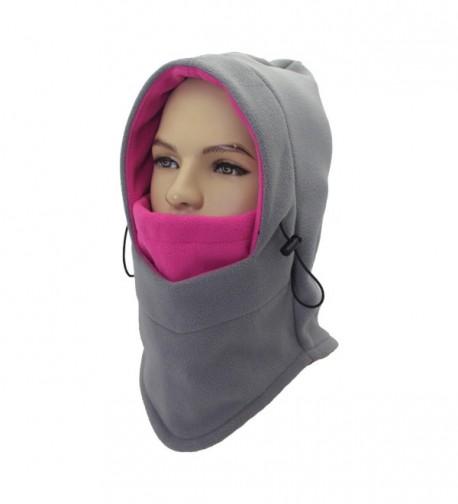 Leories Balaclava Face Ski Mask - Motorcycle Fleece Hood/Neck Warmers/Hat Mens Womens - Grey pink - C8187NUHZE0