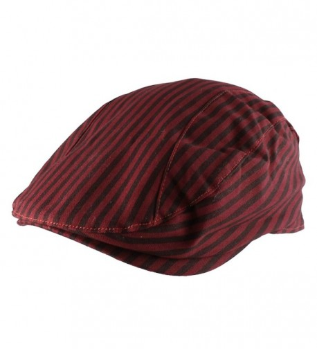 Morehats 100% Striped Cotton Newsboy Cap Gatsby Golf Hat - Red - C911X5VXKHX