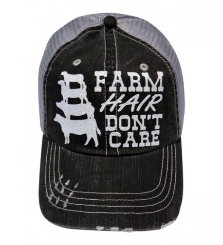 White Glitter Farm Hair Don't Care Distressed Look Grey Trucker Cap Hat Farm - CL1839EOX20