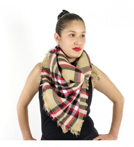 Designer Style Plaid Scarf with Raw Edge - Thick Blanket Khaki - C8129497O7L
