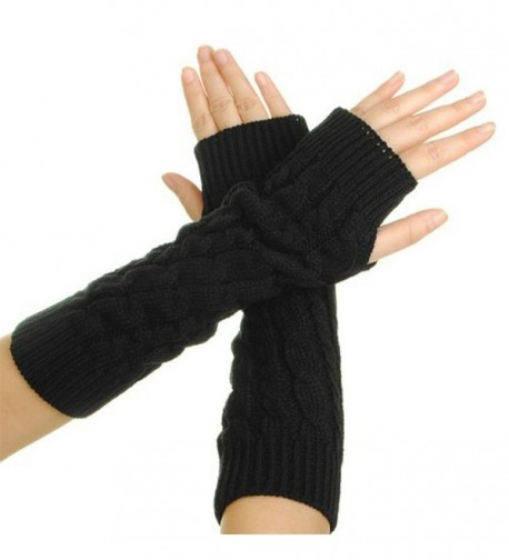 GUAngqi Women's Crochet Long Fingerless Gloves with Thumb Hole - Black - CF12N8OIHTY