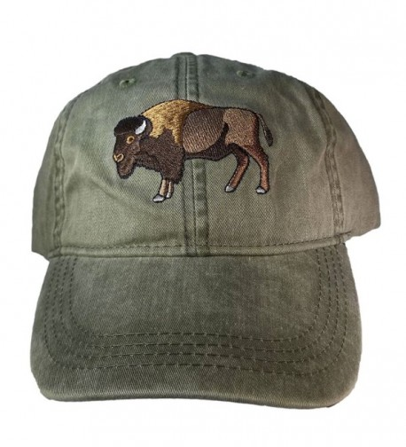 ECO Wear Embroidered Wildlife Bison Buffalo Baseball Cap - C812KQE76FN