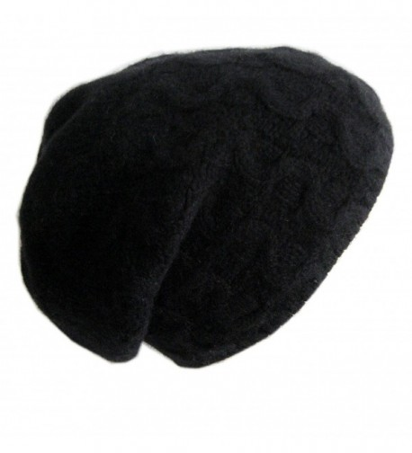Frost Hats Luxurious Trendy Cashmere Slouchy Hat For Women Cable Beanie CSH-735 - Black - CF11VMWGTMZ