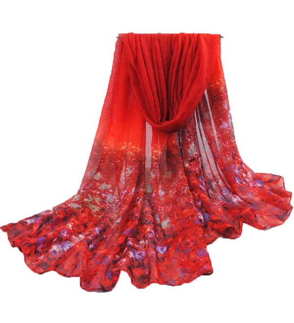 Women Scarf- CoKate Women Elegant Chiffon Floral Print Lightweight Scarves for Travel Seaside - Red - CF187NR3UNW