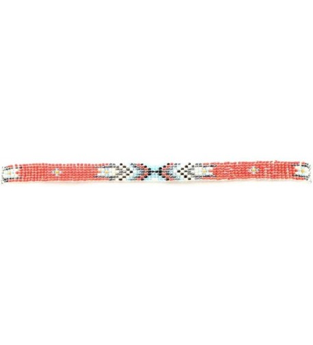 M F Foot and Headwear Womens MF Red Beaded Indian Hat Band - CG11O2YHDTD