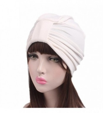 Qingfan Women Solid Pre Tied Yoga Cancer Chemo Hat Beanie Turban Stretch Head Wrap Cap - White - CJ185A3TT0E