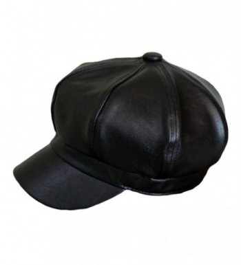 Qunson Women's Vintage Pu Leather Newsboy Hat Cap - Black - CG12O4SUOZR