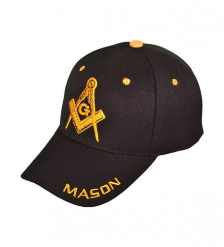 SunGal Freemason Mason Symbol Adjustable 3D Embroidery Baseball Cap Hat - Black - C412JLQTBDH