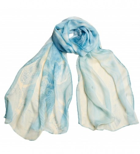 Ysiop Womens 100% Silk Scarves Lightweight Sunscreen Shawls and Beach Wraps - Blue 1 - CV17YLLY5GR
