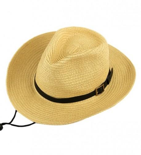 SAYM Fashion Unisex Foldable Western Cowboy Hat Straw Hat Cap Sun Shade - Beige - C811YIXL5M9