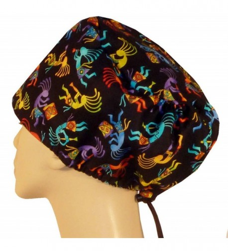 Riley Bouffant Medical Scrub Caps - Kokopelli On Black - C012O22Y16P