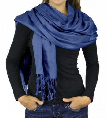 Women Scarf Viscose Pashmina Scarves For Women / Shawl Wrap - Solid Colors Scarfs For Women - Cobalt Blue - C712O4KL7DY