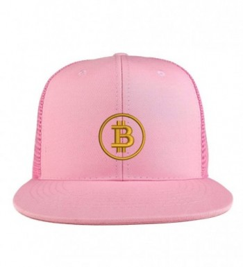 Trendy Apparel Shop Bitcoin Embroidered Cotton Flat Bill Mesh Back Trucker Cap - Pink - C5185YLTST4